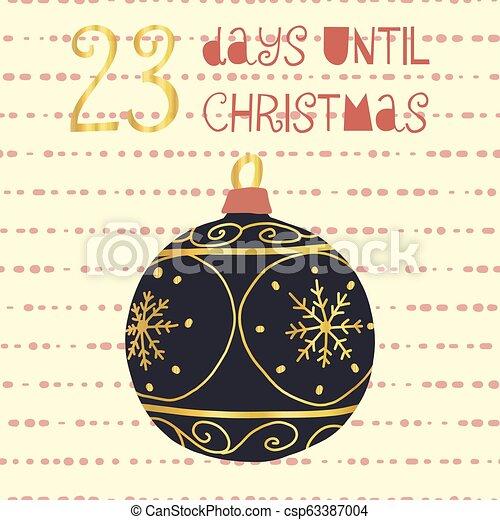 Days Until Christmas Countdown.23 Days Until Christmas Vector Illustration Christmas Countdown Twenty Three Days Til Santa Vintage Scandinavian Style Hand Drawn Ornament Holiday