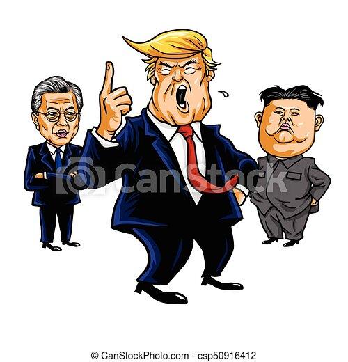 23, illustration., setembro, trunfo, lua, donald, vetorial, kim, 2017, jong-un, caricatura, jae-in. - csp50916412
