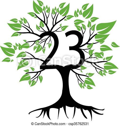 23 Years Anniversary Tree Logo - csp35762531