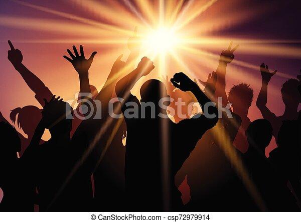 2308, sunburst, bakgrund, folkmassa, parti - csp72979914