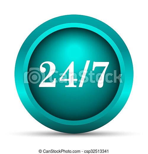 24 7 icon - csp32513341