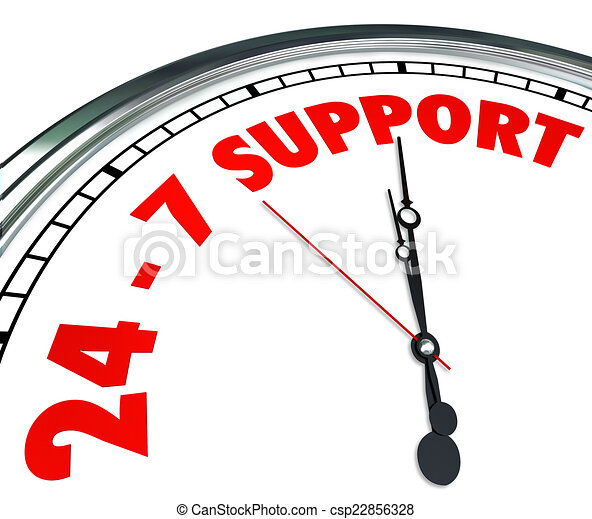 24 7 Support Words Numbers Clock Customer Service Always Open - csp22856328