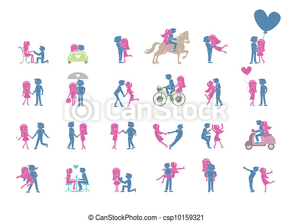 24, couple, pose, ensemble, illustration - csp10159321