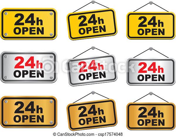 24 hour open sign - csp17574048