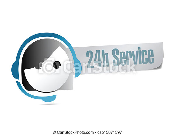 24 hour service customer support illustration - csp15871597