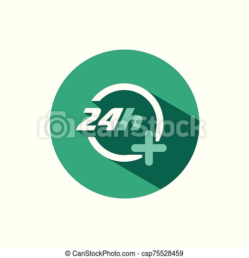 24 hours pharmacy service icon with shadow on a green circle. Vector pharmacy illustration - csp75528459