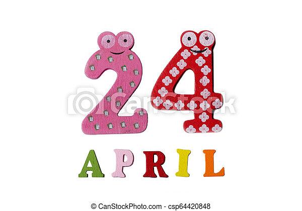 24, letters., avril, nombres, fond, blanc - csp64420848