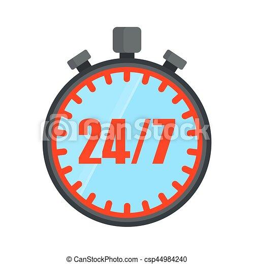 7139c9e7df5524 24 ore, aperto, cronometro. 24, appartamento, vettore, intorno ...