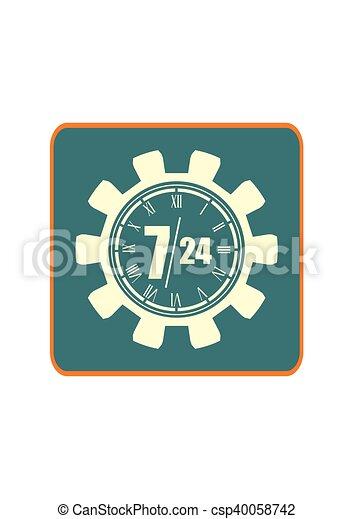 Reloje en marcha y símbolos 7, 24 - csp40058742