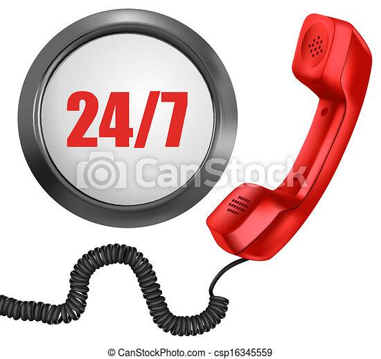 24, semaine, 24/7, soutien, button., jours, heures, jour, vecteur, 7, téléphone, concept. - csp16345559