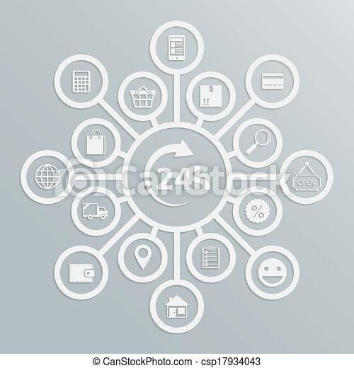 24, service clientèle, heures, diagramme, magasin ligne - csp17934043