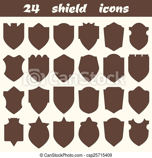 24 Shield Icons Set Of Different Shapes Borders