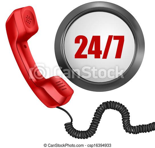 24, vecka, vektor, illustration., 24/7, stöd, telefon, dagar, timmar, dag, button., 7, concept. - csp16394933