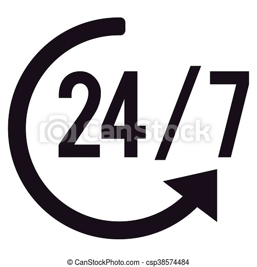 Uitgelezene 24, week, dagen, uren, 7, pictogram. 24, plat, dagen, illustratie PZ-69