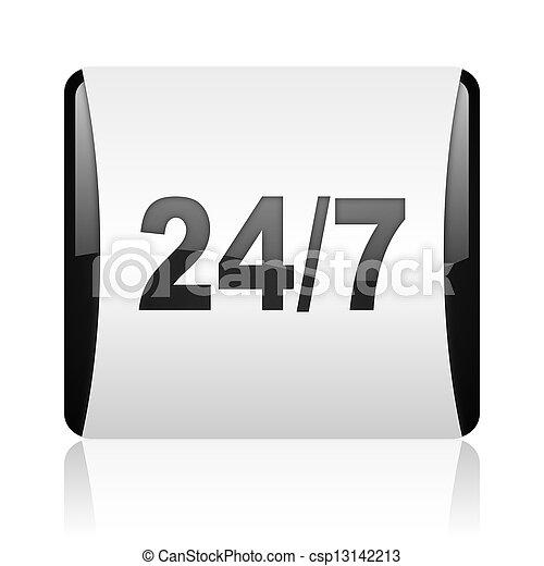 24/7 black and white square web glossy icon - csp13142213