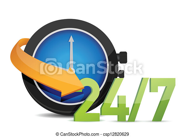 24/7, concept, montre - csp12820629