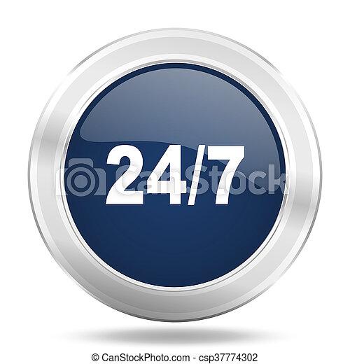 24/7 icon, dark blue round metallic internet button, web and mobile app illustration - csp37774302