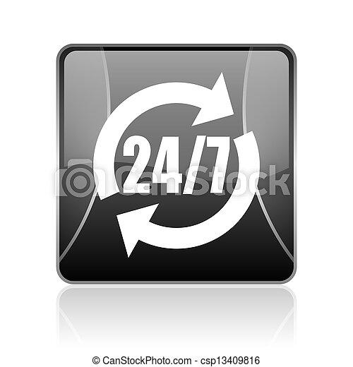 24/7 service black square web glossy icon - csp13409816