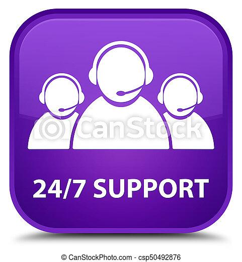24/7 Support (customer care team icon) special purple square button - csp50492876