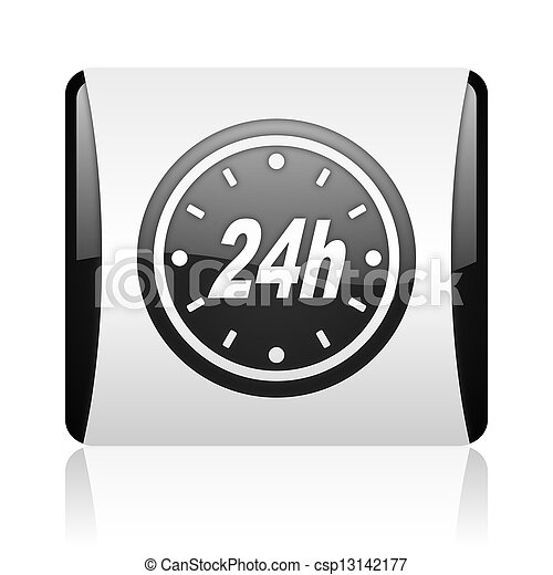 24h black and white square web glossy icon - csp13142177