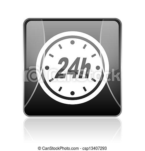 24h black square web glossy icon - csp13407293