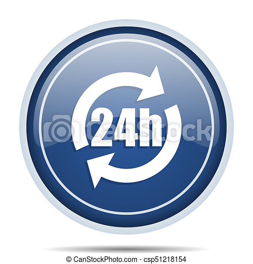 24h blue round web icon. Circle isolated internet button for webdesign and smartphone applications. - csp51218154
