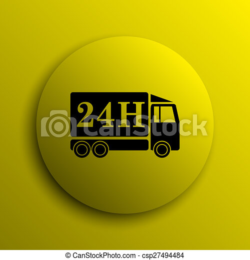 24H delivery truck icon - csp27494484