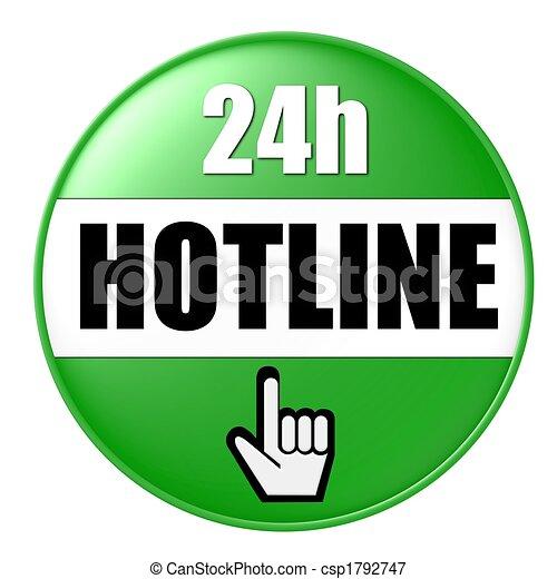 24h hotline button green - csp1792747