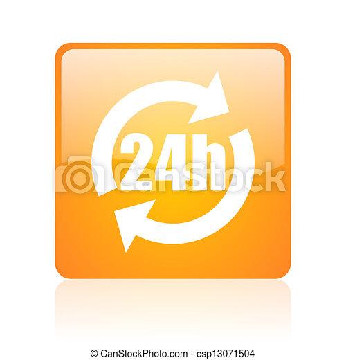 24h orange square glossy web icon - csp13071504