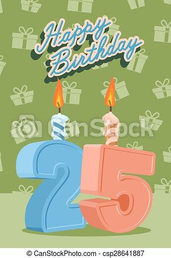 25 år fest 25, år, fødselsdag, 25nd, fest, glade. 25, illustration, år  25 år fest