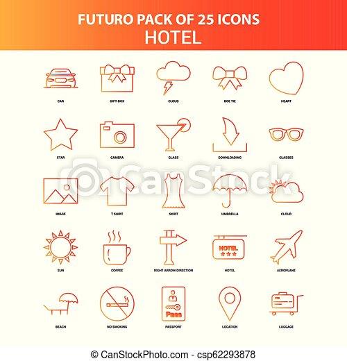 25, セット, ホテル, オレンジ, futuro, アイコン - csp62293878