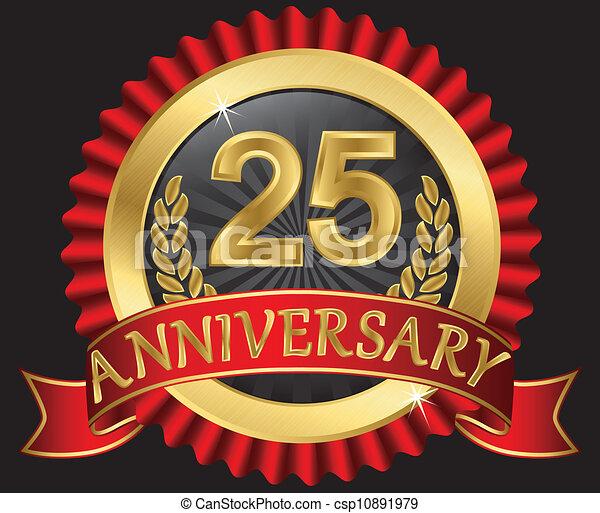 25, années, doré, anniversaire - csp10891979