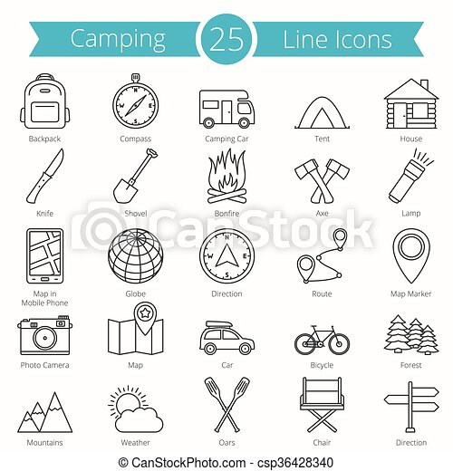 25 Camping Line Icons - csp36428340