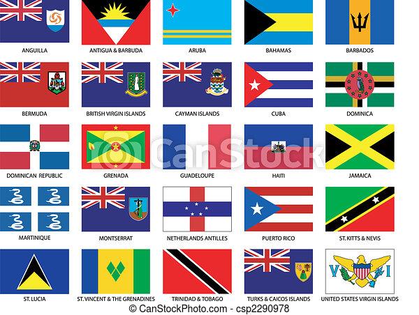 25 Caribbean Flags - csp2290978
