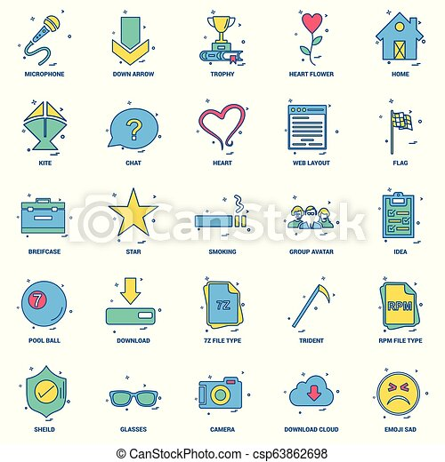 25 concepto de negocios mezcla icono de color plano - csp63862698