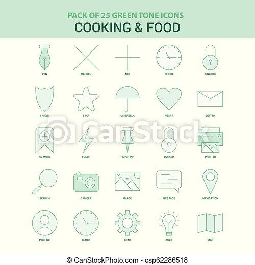 25 de cocina verde y un juego de iconos de comida - csp62286518