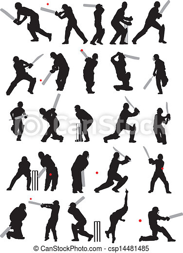 25 detail cricket poses silhouette - csp14481485