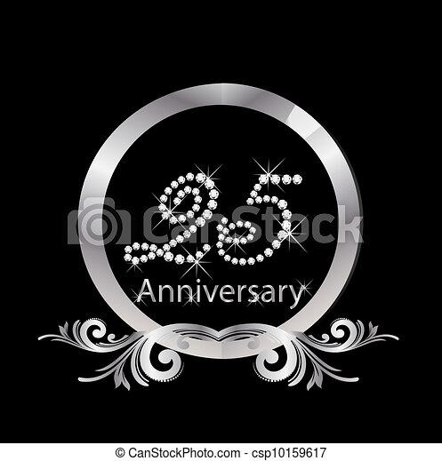 25, diamante, anniversario, argento - csp10159617