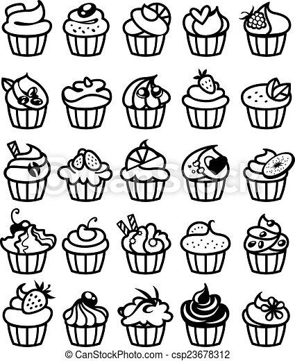 25 different cupcakes - csp23678312