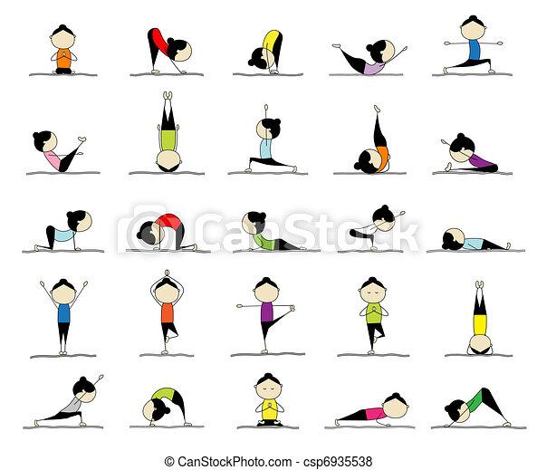 25, donna, attivo, yoga, disegno, pose, tuo - csp6935538