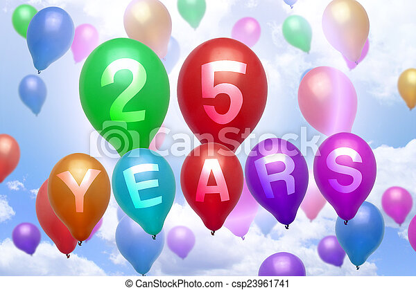 25 år födelsedag 25, färgrik, balloon, år, födelsedag, sväller, lycklig. 25  25 år födelsedag