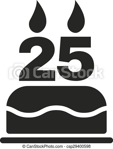 25 Forma Plano Velas Simbolo Numero Torta De Cumpleanos Icon