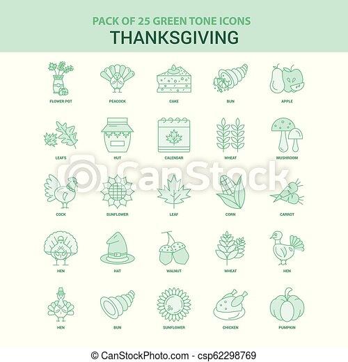 25 iconos de Acción de Gracias verdes - csp62298769