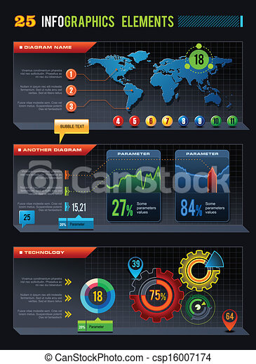 25 Infographics design elements - csp16007174