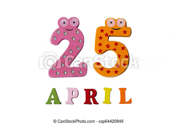 25, letters., avril, nombres, fond, blanc - csp64420849