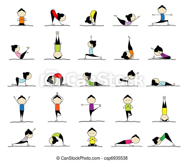Mujer practicando yoga, 25 poses para tu diseño - csp6935538