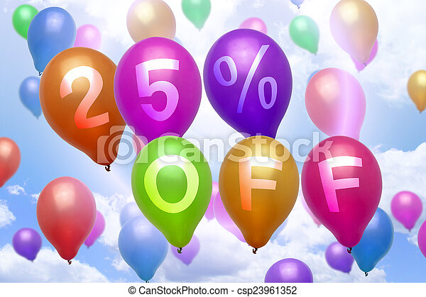 25 percent off discount balloon colorful balloons - csp23961352