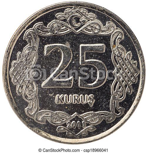 25 Turkish kurus coin, 2011, back - csp18966041