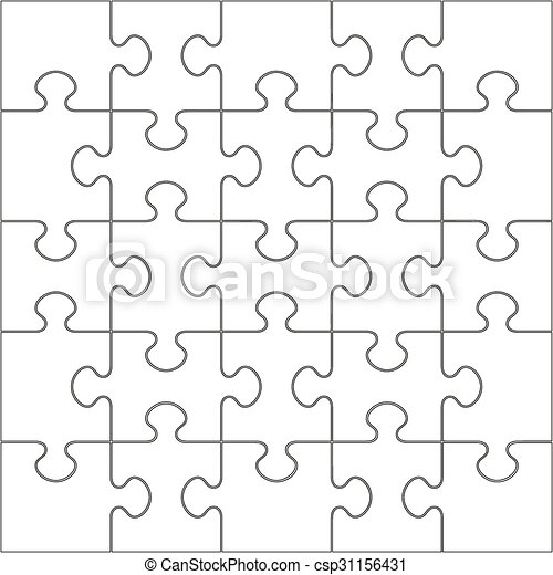 25 White Puzzle Pieces - JigSaw - csp31156431