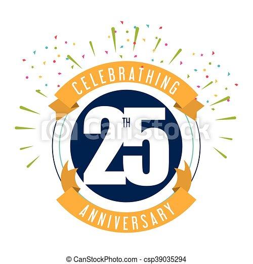 25 Year. Celebrating Anniversary. Vector graphic - csp39035294